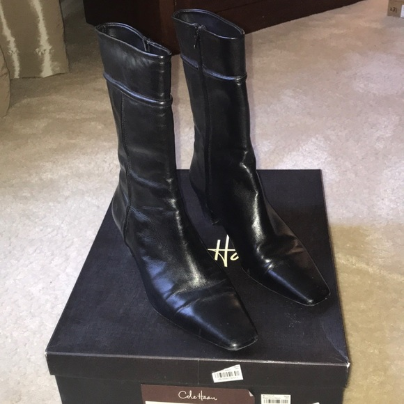 """f8d6842dd09 Cole Haan """"Janna"""" short (mid calf) leather boots."""
